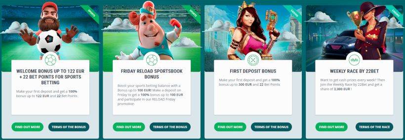 Bonuses and prizes from 22bet