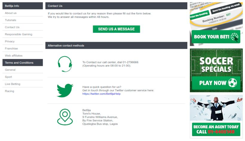 How to contact Bet9ja support